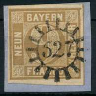 BAYERN QUADRATE Nr 11 GMR 527 Zentrisch Gestempelt Briefstück X883FA2 - Bayern