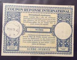 COUPON REPONSE INTERNATIONALE SVEZIA SVERIGE 75 ORE - Posta
