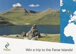 Carte Postale Service Philatélique Des Iles Féroé Faroes Philatelic Service Post Card Mountain Sea View Vue De Montagne - Féroé (Iles)