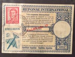 COUPON REPONSE INTERNATIONALE   REPUBBLICA ARGENTINA 1 PESO SOVRASTAMPATO VALOR 12 $ - Posta