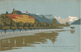 HOTEL DES ROIS COURONNES, VEVEY. (scans Verso). - VD Vaud