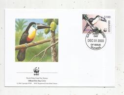 Premier Jour D'émission ,FDC , WWF , GUYANA ,GEORGETOWN ,oiseau , Channel-billed Toucan ,01 Dec. 2003 - Guyane (1966-...)