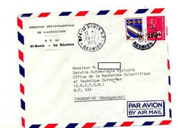 Lettre Cachet Saint Denis Reunion Sur Troyes Bequet Surchargé CFA Entete Direction Agriculture - Réunion (1852-1975)