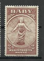 AUSTRIA Österreich Ca 1910 Baby Wohltätigkeitsmarke Vignette Spendemarke Charity MNH - Vignetten (Erinnophilie)