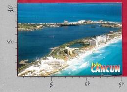 CARTOLINA VG MESSICO - CANCUN - Aerial View Of Cancun's Beach And Lagoons - 10 X 15 - ANN. 19?? - Messico