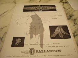 ANCIENNE PUBLICITE JOAILLERIE PALLADIUM 1952 - Publicités