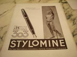 ANCIENNE PUBLICITE  LA PLUME 303 STYLOMINE 1946 - Autres Collections