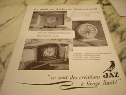ANCIENNE PUBLICITE TIRAGE LIMITE PENDULE  JAZ 1946 - Bijoux & Horlogerie