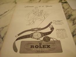 PUBLICITE AFFICHE MONTRE ROLEX  PERPETUAL EN OR 1951 - Jewels & Clocks