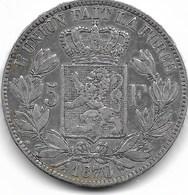 LEOPOLD 2 - 5 FRANK 1870 - 1865-1909: Leopold II