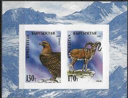 1995 Kirgisien  Mi.Bl 91 B **MNH Steinadler (Aquila Chrysaetos / Altai-Wildschaf (Ovis Ammon Ammon - Kirghizistan