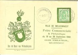 """Carte Avec Nr 712 De WELKENRAEDT 1948   """" Foire Commerciale """" Sans Numéro . - 1935-1949 Petit Sceau De L'Etat"""