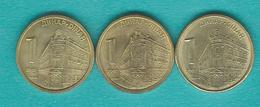 1 Dinar - 2007 (KM39); 2010 (KM48); 2013 (KM54) & 2 Dinara - 2006 (KM46); 2009 (KM49) & 2013 (KM55) - Serbie