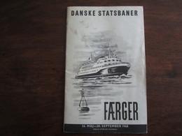 DANSKE STATSBANER FAERGER 26 MAJ 28 SEPTEMBER 1968 - Europe