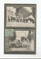 SAMADET (LANDES) CARTE DEUX VUES PENDANT LA FETE PASSE RUE. LA PROCESSION DES CHAMPS QUARTIER ST ANTOINE 1906 - Sonstige Gemeinden