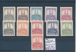 BELGIAN CONGO 1941 ISSUE ALBERT'S MEMORIAL COB 214/224 MNH - Belgisch-Kongo
