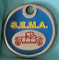 Jeton De Caddie  Argenté  Ville, Automobile  S.E.M.A. Verso  MIRABEL, MONTAUBAN  ( 82 ) - Trolley Token/Shopping Trolley Chip
