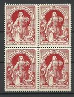 AUSTRIA Or Germany 1906 Verein Für Armenpflege Und Kinderfürsorge Als 4-Block MNH - Vignetten (Erinnophilie)