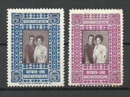 AUSTRIA Österreich Ca 1910 Witwen- Und Waisenversorgung Wohltätigkeitsmarken Vignetten Spendemarken Charity MNH/MH - Erinnofilie