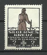 AUSTRIA Österreich Ca 1910 Silbernes Kreuz Landesverein Steiermark Wohltätigkeit Vignette Spendemarke Charity * - Vignetten (Erinnophilie)