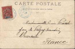 YT 43 Groupe Allegorique 10c Rouge CPA Marchand De Poulets Vue D'Amboditonono De Beseva CAD Bleu Maevatanana 30 9 03 - Madagascar (1889-1960)
