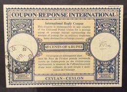 COUPON REPONSE INTERNATIONALE CEYLON  65 Cents Of A Rupee - Posta