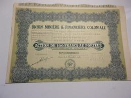 Union Minière & Financière Coloniale - Shareholdings