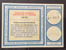 COUPON REPONSE INTERNATIONALE  ALGERIA REPUBLIQUE ALGERIENNE 0,80 Da - Posta