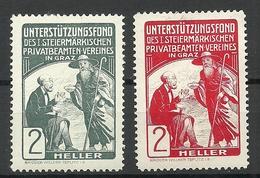 AUSTRIA Österreich Ca 1900 Unterstützungsfond Steiermärkische Privatbeamten-Verein Graz Spendemarken Charity * - Vignetten (Erinnophilie)