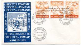 FDC. Roumanie. Liberté Pour La Roumanie, Défense Des Droits De L'Homme. Madrid 23/08/1959 - Institutions Européennes