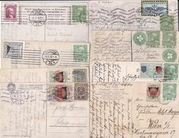 8 Karten Mit Gestempelten Vignetten, Ca. 1915-1921 - Vignettes De Fantaisie