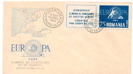 FDC. Romania, Liberté Pour L'europe De L'Est. Europa C.E.P.T. Cachet Madrid 19 Septembre 1960. - Europese Instellingen
