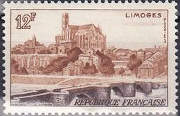 Timbre-poste Gommé Neuf** - Vue De Limoges Le Pont Saint-Étienne Et La Cathédrale - N° 1019 (Yvert) - France 1955 - France
