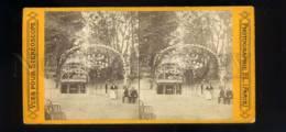 184154 FRANCE PARIS Jardin Malille Vintage STEREO PHOTO - Photos Stéréoscopiques
