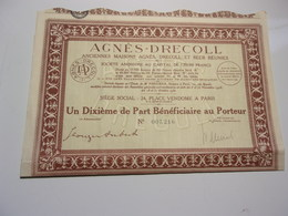 AGNES-DRECOLL (1 Dixieme Part Bénéficiaire) 1931 - Shareholdings