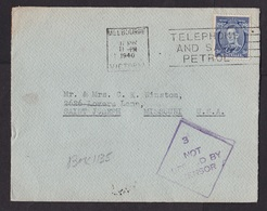 Australia: Cover To USA, 1940, 1 Stamp, Cancel Telephone And Save Petrol, Not Opened By Censor, WW2 (roughly Opened) - 1937-52 George VI