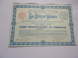 DICKSON WALRAVE Filatures,tissages (1927) - Shareholdings
