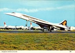 ! Moderne Ansichtskarte Concorde, Singapore Airlines, Singapur, Supersonic Airplane - Singapur