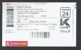 Guns N Roses - 29 Nov 2018 -Big Concert - Johannesburg - South Africa - Used - Biglietti D'ingresso