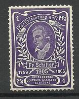 Germany 1905 Friedrich Schiller - Stiftung Vignette Poster Stamp Spendemarke 1 Pfg MNH - Vignetten (Erinnophilie)