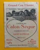 9559 - Château Calon-Sègur 1953 St-Estèphe - Bordeaux