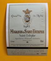 9563 - Marquis De Saint Estèphe 1987 St-Estèphe  Spécimen - Bordeaux