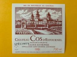 9569 -  Château Cos D'Estournel 1981 St-Estèphe Spécimen - Bordeaux
