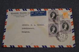 Chine Très Bel Envoi De Hong Kong ,1953 ,envoi En Belgique Avec 4 Timbres,belles Oblitérations - China
