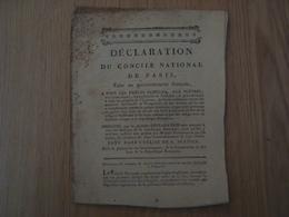 DECLARATION DU CONCILE NATIONAL DE PARIS - Livres, BD, Revues