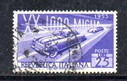 XP2472 - REPUBBLICA 1953 ,  25 Lire N. 707 Usato.  1000 Miglia  .Filigrana Lettere 3/10 - 6. 1946-.. Repubblica