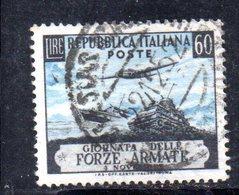 XP2462 - REPUBBLICA 1952 , 60 Lire N. 707 Usato. Forze Armate .Filigrana Lettere - 6. 1946-.. Repubblica