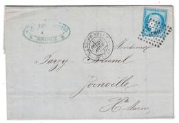 1872 - OBLITERATION AMBULANT CONVOYEUR HP 1° + CAD GARE De ROUEN Sur LETTRE LAC AFFRANCHIE CERES 60 Pour JOINVILLE - 1849-1876: Période Classique