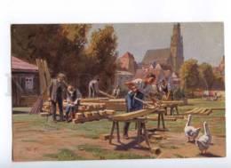 189751 BUILDING Of House By Paul HEY Vintage Postcard - Autres Illustrateurs