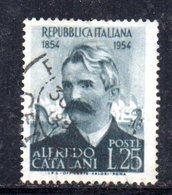 XP2463 - REPUBBLICA 1954 , 25 Lire N. 740 Usato. Catalani .Filigrana Lettere - 6. 1946-.. Repubblica
